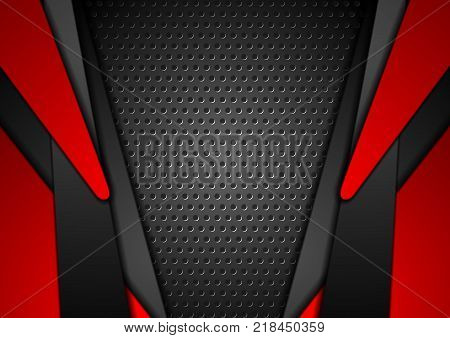 Abstract red and black contrast tech corporate background. Vector perforated design