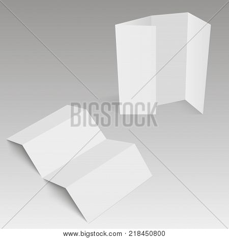 Blank four folded fold paper leaflet, flyer, broadsheet. Vector illustration.