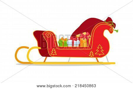 Christmas sleigh with presents vector illustration isolated on white. Red Santa s sledge with New Year tree ornament, full of gift boxes cartoon style