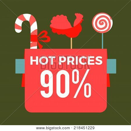Hot prices 90 final sale poster with sweet candy sticks, cock lollipop and round bonbon vector promo banner confectionary objects isolated on green
