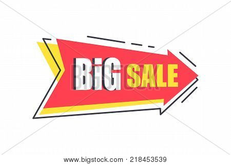 Big sale arrow shape sticker, discounts pointer in red colors vector illustration label isolated on white background, promotional advert badge