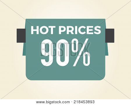 Hot prices 90 sale clearance isolated on white background. Vector illustration with big discount promotion on dark blue shop sign