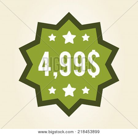 Closeup of green sticker, final price placed in centerpiece of label, stars serve as decoration and symbol of high quality product vector illustration