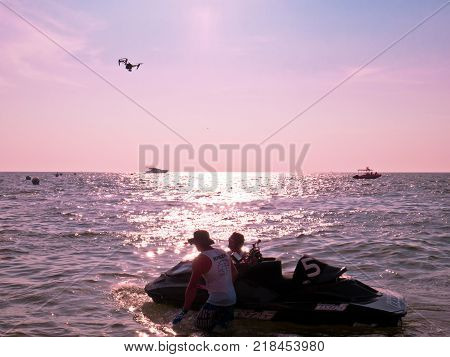 On Dec 102017. Jet ski world cup 2017 at Jomtien Beach in Chon Buri Thailand. Drone flying on sea with jet ski.