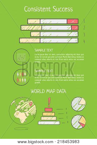 Consistent success analysis with colorful horizontal bar graph and round pie chart. Vector illustration with statistical review on green background