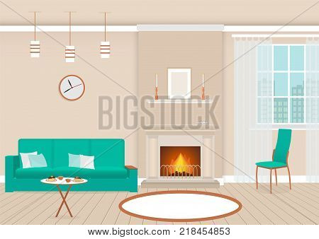 Living room interior with fireplace and furniture. Domestic room design with burning fire in furnace hot drinks and desserts on a table. Vector illustration.