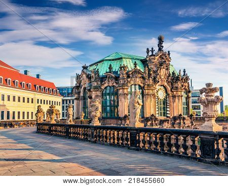 Morning view of famous Zwinger palace (Der Dresdner Zwinger) Art Gallery of Dresden. Colorful spring scene in Dresden Saxony Germany Europe. Artistic style post processed photo.