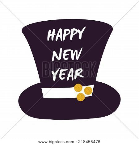 Happy New Year cylinder hat icon isolated on white background. Vector illustration with black high hat with congratulation decorated with white ribbon