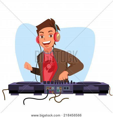 Dj Vector. Playing Disco House Music. Stylish Man. Headphones. Concert Concept. Isolated Flat Cartoon Character Illustration