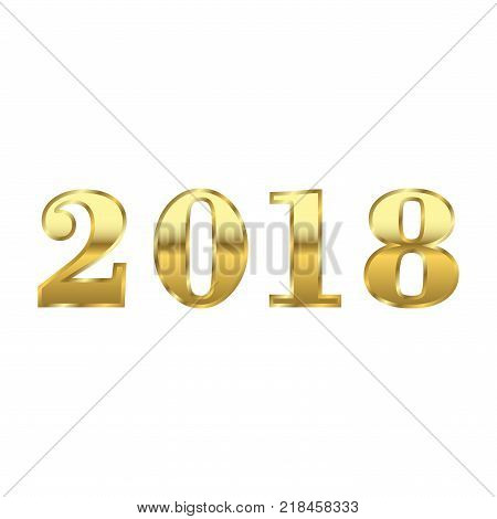 Happy New Year golden numbers. Gold numbers 2018 on white background. Christmas and New Year design. Symbol of holiday celebration. Luxury golden texture. Vector illustration