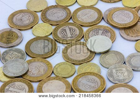 closeup shoot of the different values of coins of turkish lira