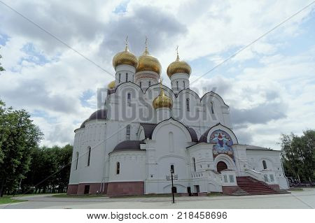 Yaroslavl, Russia. - June 3.2016. Photo of the Assumption Cathedral from near the wide-angle lens.