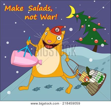 Funny vector card with a crazy cat and play of words Make Salads not war