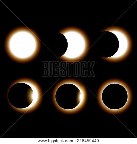Different phases of sun eclipse on dark background. Vector illustration