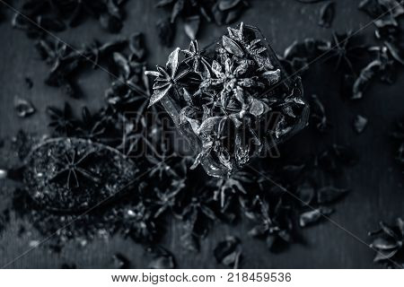 Close Up Star Aniseed,illicium Verum In A Bowl With Powder.