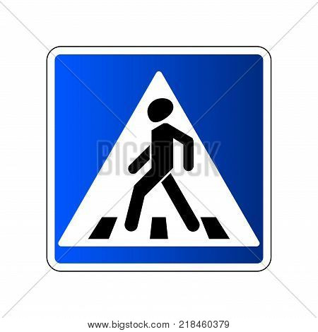 Pedestrian crossing sign. Traffic road blue sign isolated on white background. Warning people street safety icon pedestrian crossing. Vector illustration