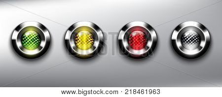 Abstract metallic web buttons set of 4. Round glass web icons with chrome frame and traffic lights in 4 different colors. Semaphore. Isolated on the light background. Vector illustration. Eps10.