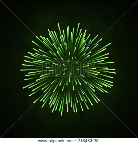 Beautiful green firework. Bright firework isolated on black background. Light green decoration firework for Christmas New Year celebration holiday festival birthday card Vector illustration