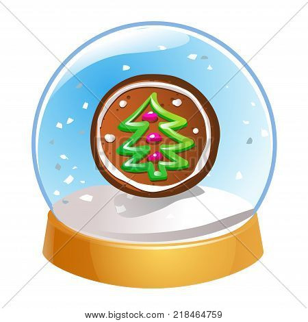 Snow globe with Christmas fir tree inside isolated on white background. Christmas magic ball. Snowglobe vector illustration. Winter in glass ball crystal dome icon