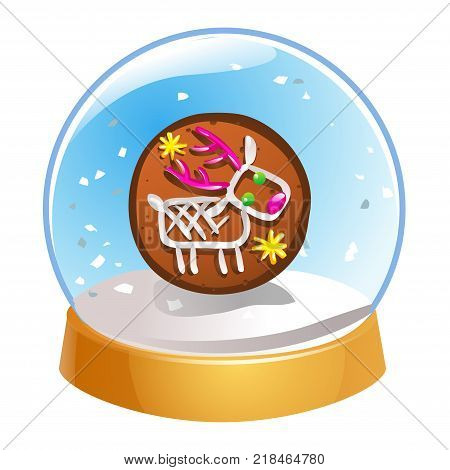 Snow globe with Christmas deer inside isolated on white background. Christmas magic ball. Snowglobe vector illustration. Winter in glass ball crystal dome icon