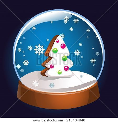 Snow globe with Christmas fir tree inside isolated on dark background. Christmas magic ball. Snowglobe vector illustration. Winter in glass ball crystal dome icon