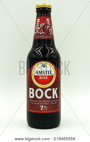 Amsterdam, The Netherlands-  December 16, 2017: Bottle of Amstel Bock beer. This ia a Dunkler Bock styled beer brewed by Heineken Nederland, Zoeterwoude, The Netherlands.