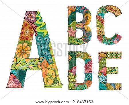 Hand-painted art design. Colorfull hand drawn illustration alphabet. Part 1