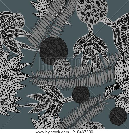 vector illustration of a hand drawn seamless pattern with plants inspired by tropical botany in shades of grey poster