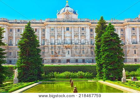 Almudena Cathedral On The Other Side Of The Royal Palace In Madrid. Spain.
