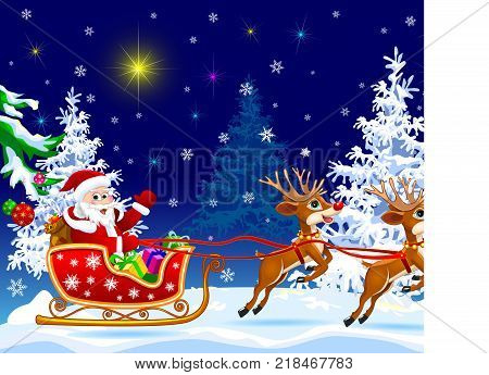 Santa Claus and deer in the winter forest on the eve of Christmas. Santa Claus on his sleigh harnessed by deer. Santa Claus with gifts on his sleigh.