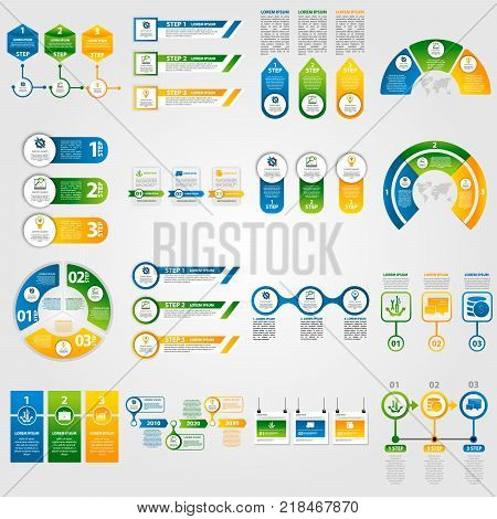 Modern Vector Illustration 3D. Template Infographics Set With Four Elements, Sectors And Percentages