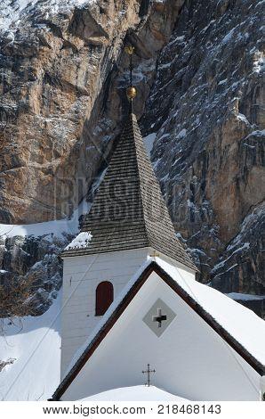 10 March 2009: Sasso della Croce - Ospizio Santa Croce - Chiesa Santa Croce under Sasso della Croce Group in the Italian Dolomites, Trentino Alto-Adige. Italy