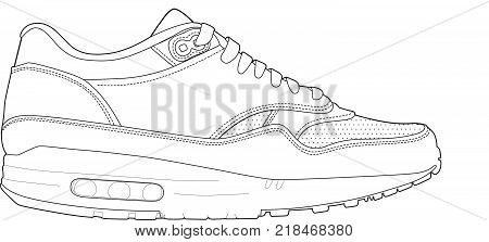 Sneakers Isolated Linear Illustration. Sport Footwear Black Contour On White Background.