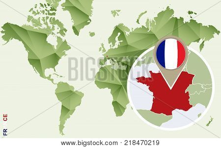 Infographic for France detailed map of France with flag. Vector Info graphic green map.