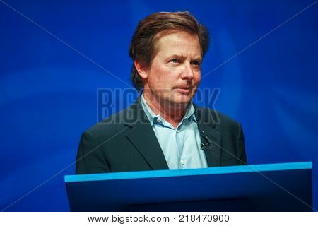 ORLANDO FLORIDA - JANUARY 16 2012: Actor Michael J. Fox delivers an address to IBM Lotusphere 2012 conference on January 16 2012. He tells how social networks help him fight his Parkinson disease