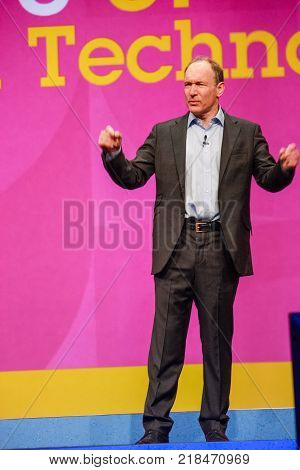 ORLANDO FLORIDA - JANUARY 18 2012: Inventor and founder of World Wide Web Sir Tim Berners-Lee delivers an address to IBM Lotusphere 2012 conference on January 18 2012. He speaks about social Web