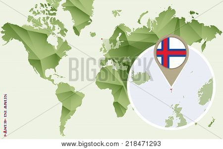 Infographic for Faroe Islands detailed map of Faroe Islands with flag. Vector Info graphic green map.