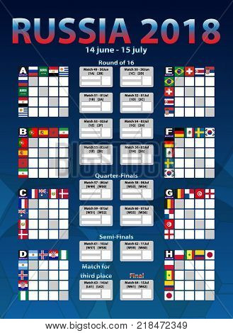 The final chart of countries Cup football in Russia.