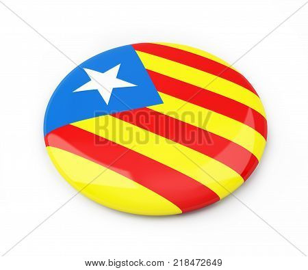 badge Catalan nationalist flag on a white background 3D illustration 3D rendering