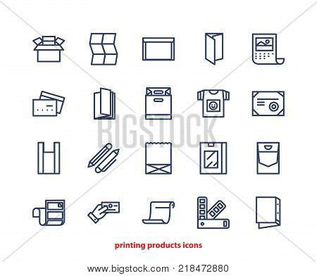 Line Icons Of Print Design Products, From Pamphlet And Booklet To Greeting Card, Calendar, Folder, F