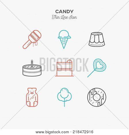 Line icons of Candy products from cake and sweets to candy shop donut ice cream jelly candy cotton candy and lollypop. Sweets icons set.