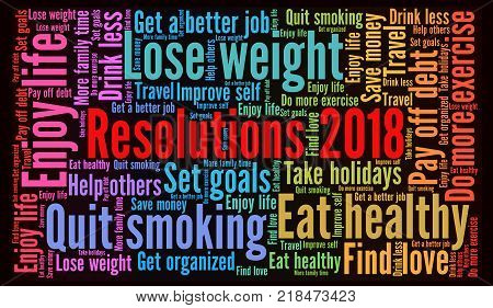 Resolutions 2018 word cloud with a black background