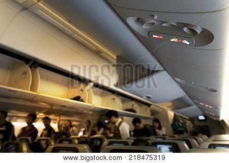 Warning of smoking ban no smoking flight and fasten seat belt sign. Inflight smoking, non smoking and fasten seat belt concept.