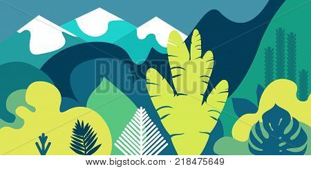 Trees are broad-leaved tropical, ferns. Mountain landscape. Flat style. Preservation of the environment, forests. Park, outdoor. Vector illustration.