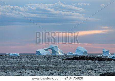 icebergs at sunset near Fogo Island, Newfoundland poster