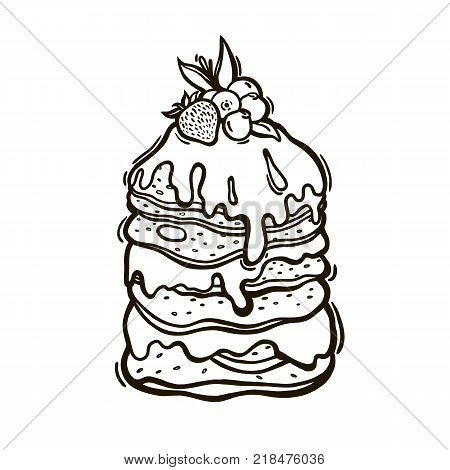 Pancakes topped with syrup and berries with mint leaves. Culinary baking. Vector illustration.