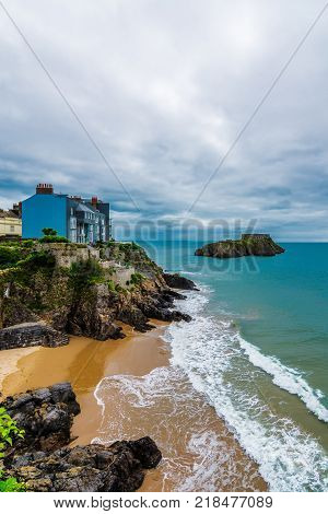 View from the esplanade of south bay on the Pembrokeshire coast Tenby Wales.