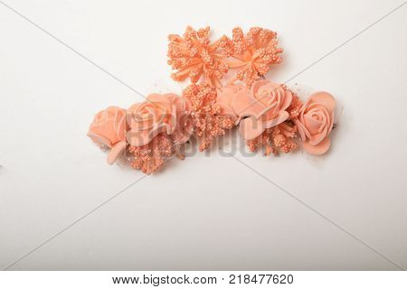 a wreath of plastic flower garland, high quality image with copy space