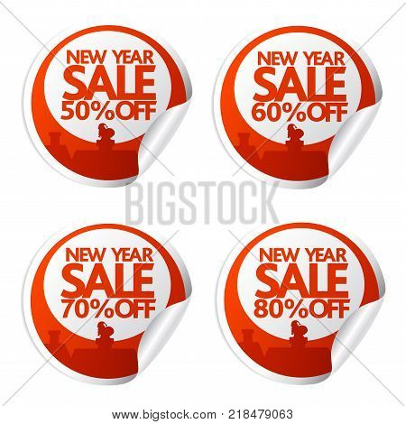 New Year sale stickers 50,60,70,80 with santa climbs into the chimney.Vector illustration