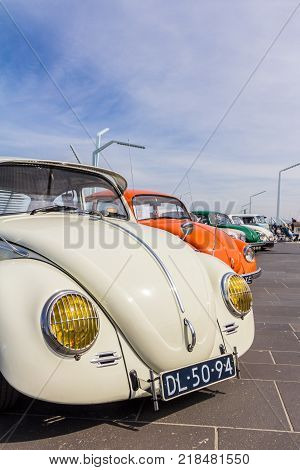 The Hague the Netherlands - 21 May 2017: VW classic beetle vehicles at Scheveningen beach car show